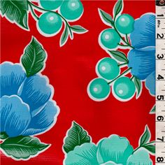 Red Floral Oilcloth