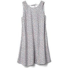 Gap Women Tie Back Tank Swing Dress (16.415 HUF) ❤ liked on Polyvore featuring dresses, regular, white, tie back dress, swing dress, round neck dress, white strappy dress and strappy swing dress