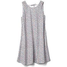 Gap Women Tie Back Tank Swing Dress (16.415 HUF) ❤ liked on Polyvore featuring dresses, regular, white, tie back dress, swing dress, round neck dress, white strappy dress and strappy swing dress