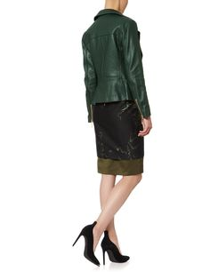 Dark Green Leather Jacket | Cedric Charlier | Avenue32