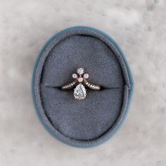Vintage-Inspired Rose Gold Victorian Era Engagement Ring   Rose Gold Tiara from Trumpet & Horn
