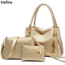 8ba4904e8 Conjuntos de alta qualidade do saco das mulheres 3 Bolsas Das Mulheres de  Couro Compostas Sacos