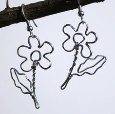 Sterling silver flower earrings crafted by hand from tarnish resistant Argentium sterling $65 Can be embellished with your birthstone.