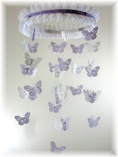 Lavender Grey and  White Butterfly Mobile Baby by lovebirdslane