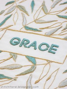 New hand embroidery pattern featuring lettering and graceful plant motif.