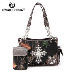 Cowgirl Trendy Concealed Carry Camo Rhinestone Cross Bag – Handbag-Addict.com