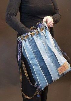 von der jeans zur tasche – tasche 11 - UPCYCLING IDEEN from jeans to pocket - pocket Denim Backpack, Denim Purse, Diy Fashion Bags, Jeans Fashion, Fashion Ideas, Artisanats Denim, Jean Diy, Denim Handbags, Mode Jeans
