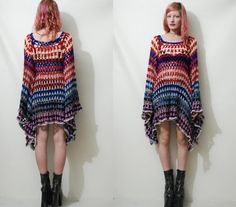CROCHET DRESS Vintage Colourful Granny Square Bell von cruxandcrow