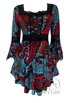 Gosh, I'm in love with this shirt!!! NWT WOMENS PLUS SIZE CLOTHING RENAISSANCE CORSET TOP IN FIRE & ICE 4X