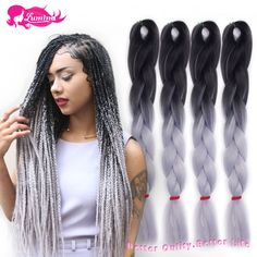 Aliexpress.com : Buy Ombre Kanekalon Braiding Hair Xpression Ombre Kanekalon Jumbo Braid Synthetic Gray/Grey Braiding Hair Two Tone Box Braids Hair from Reliable hair braiding with beads suppliers on Henan Ruilu Trade Co., Ltd.  | Alibaba Group