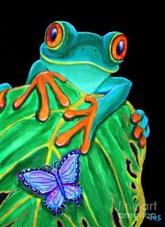 Red-eyed tree frog and butterfly Painting by paulaqwest