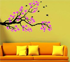 White Cherry Blossom Tree Wall Decals