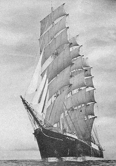 """Passat was launched in 1911 at the Blohm & Voss shipyard, Hamburg. The name """"Passat"""" means trade wind in German. She is one of the last surviving windjammers. Moby Dick, Voss, Old Sailing Ships, Wooden Ship, Sail Away, Set Sail, Wooden Boats, Tall Ships, Water Crafts"""