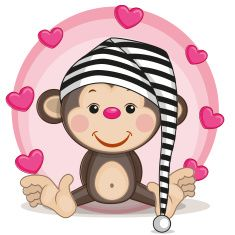 Monkey in Night Cap with Pink Hearts in the background....so sweet!!