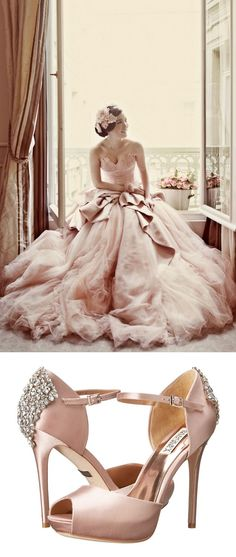 Bridal Style Idea: Blush bridal gown and shoes.