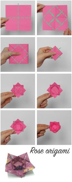 New Origami Rose Instructions Ideas Origami Rose, Origami Ball, Diy Origami, Origami Simple, Origami Dragon, Origami Butterfly, Paper Crafts Origami, Useful Origami, Origami Tutorial