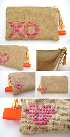 New XO slender pouch with tassel pull. Cross stitch embroidery in magenta on burlap with cotton lining. Pouch is wide x heig. Jute Fabric, Fabric Bags, Hand Embroidery Videos, Small Sewing Projects, Baby Clothes Patterns, Burlap Crafts, Jute Bags, Sewing Accessories, Knitted Bags