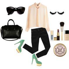 green mint heels + Man-tailored collar salmon shirt