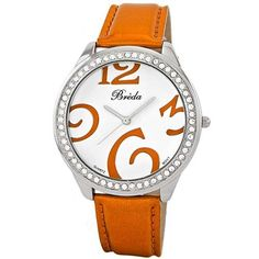 """Breda Women's 5167-orange """"Tierney"""" Oversized Rhinestone Bezel Metallic Band Watch Breda. $27.68. Adjustable orange metallic leather inspired strap with silver metal buckle. Highest Standard Quartz movement. Water-resistant - not recommended to take into deep water or shower. Oversized rhinestone encrusted silver metal bezel. White dial featuring large orange Arabic numerals at 3, 6, 9, and 12 o?clock; Contrasting hands"""