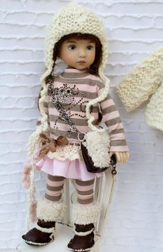 """Monkey Dress Outfit + Boots 7 Pieces For Little Darlings Effner 13"""" by Barbara #DiannaEffner"""