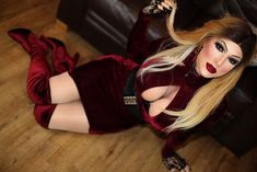 Little red velvet dress and boots | Makeup by lovely Cindy C… | Flickr