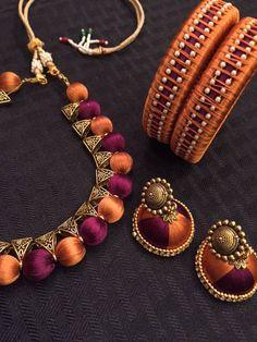 Items similar to Bridal Wedding Garba Sangeet Mehndi Pithi Indian Purple Gold Silk Thread Gold Tone Fashion Costume Jewelry Necklace Set on Etsy Silk Thread Bangles Design, Silk Thread Necklace, Silk Bangles, Beaded Necklace Patterns, Thread Jewellery, Jewelry Patterns, Fabric Jewelry, Diy Jewelry Necklace, Necklace Set