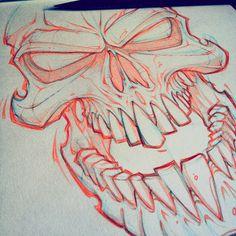 Lunch scribble! #skull #art #absorb81 #drawing #design #sketch #pencil #evil #instaart #new