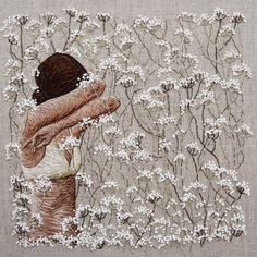 "michellekingdom: ""even now ….. even sleeping - 9"" square on linen #embroidery #embroideryart #bordado #broderie """