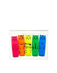 Paperchase 5 Pack Cat Highlighter Pens