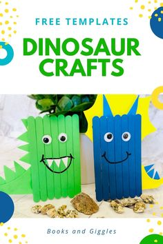 These dinosaur crafts for kids include a free printable template. Make a cute stegosaurus and triceratops with popsicle sticks! #kidscrafts #booksandgiggles #dinosaurs
