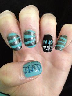 awesome Tim Burton CHESHIRE CAT nails