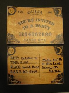 Fantastic Ouija board invites  Halloween party invitations scary creepy
