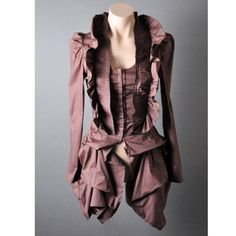Brown Steampunk Bustle Ruffle Blouse Shirt Top S Beautifully crafted with a waistcoat inspired bodice and topped off with an elaborate pin tucked collar and ruffle detailing. Please note this top runs small. It's juniors size. Way On Tops Blouses