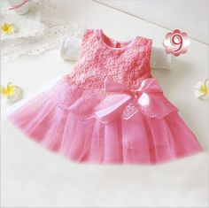 Hot New Infant Baby Girl Tutu Dress vestidos Kids Cute Lace Flower Summer Party Princess Dresses baby girl Christmas Clothes 100% NEW Features: Condition: 100%Brand New and High Quality Material: Cotton Blend Main Color: Pink, White, Rose Red, Sky Blue,Purple Size:0-3 Months , 3-6 Months, 6-9 Months, 9-12 Months