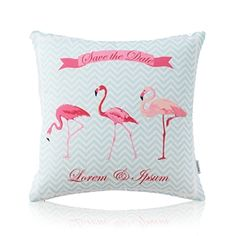 American Pastoral Simple Cotton Linen Tropical Rain Forest Series Printing Sofa Pillow Flamingo Pattern Pillow