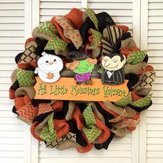 Large Burlap Halloween Wreath with Little Monsters Welcome Sign, Halloween Door Decor, Fall Wreath