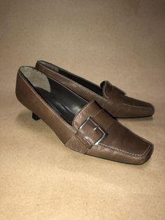 STUART WEITZMAN Women's Brown Leather Square Toe Heels Loafer Shoes SZ 6.5 M NS6