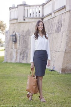 7073176464 skirt outfit ideas · white button up + herringbone pencil skirt + leopard  wedges Cheap Skirts
