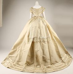 "Silk Evening Dress with Self-Fabric Bows, Labeled ""Marguerite Robes"", French, c. 1867. (View 2)"