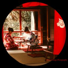 The perfect japanese beauty, two young friends wearing kimono in a restaurant in Fushimi Inari Shrine, Kyoto
