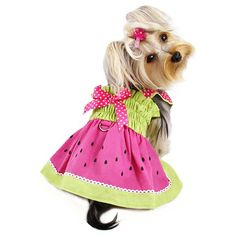 Klippo Pet Juicy Watermelon Dog Sundress with Large D-Ring for Easy Leash Attachment Sizes: Large Girl Dog Clothes, Cute Dog Clothes, Designer Dog Clothes, Dog Pajamas, Dog Boutique, Girl And Dog, Dog Dresses, Cute Bows, Pink Polka Dots