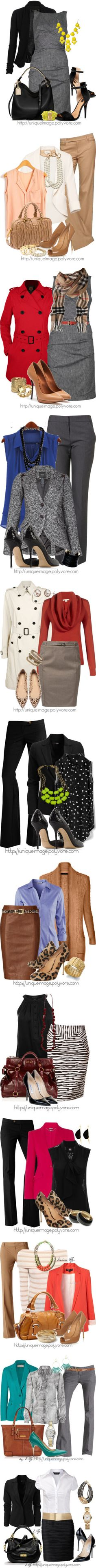 Love the gray dress with the yellow accents and the black bag in outfit one. Second outfit is great too, not sure about the pearls. Lots if great work outfit ideas. Style Work, Mode Style, Style Me, Work Chic, Business Outfits, Business Attire, Business Fashion, Business Clothes, Business Style
