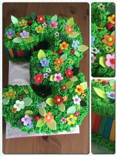 3 year old picnic garden party birthday cake.
