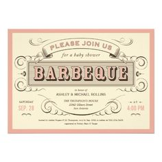 Vintage BBQ Baby Shower Invitations
