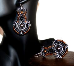 Beautiful Large Black and Silver Soutache Earrings by margoterie