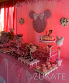 Minnie Mouse shabby chic birthday party! See more party ideas at CatchMyParty.com!