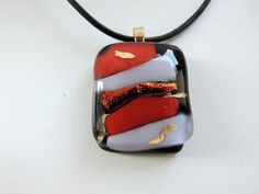 fused glass necklace red necklacered glass by Homeforglasslovers