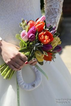 Spring bridal bouquet with tulips