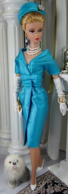 This vintage inspired fashion has so many flattering and feminine elements that have stood the test of time. The sheath is cut from a shimmery aqua silk tussah, this fabric is amazing, there are th. Barbie I, Barbie World, Barbie Dress, Barbie And Ken, Barbie Clothes, Barbie Outfits, Barbie Style, Barbie House, Barbie Fashion Royalty