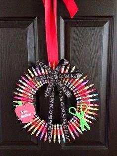 Back to school Teacher wreath Personalize Custom on Etsy, $25.00